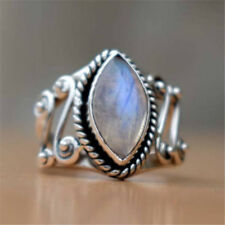 925 Silver Huge Moonstone Gemstone Wedding Anniversary Party Gift Ring Size6-10