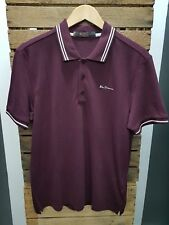 MENS BEN SHERMAN SHORT SLEEVE BURGUNDY 48520 TIPPING POLO SHIRT ALL SIZES M-4XL