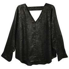 A New Approach Black Snake Print Double V Neck Sexy Cut Out Top Evening Formal