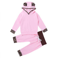 2PCS Toddler Kids Baby Girl Leopard Hooded T-shirt Tops+Pants Set Outfit Clothes