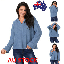 Plus Size Women Hooded Sweater Shirt Pullover V Neck Hoodies Knitted Jumper Tops