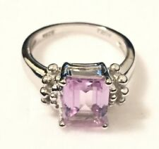 2.16ct Genuine Natural Emerald Cut Pink Amethyst Real 925 Silver Engagement Ring