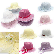 Baby Girls Children Kids Lace Flower Hat Node Brim Summer Beach Sun Straw CapEVz