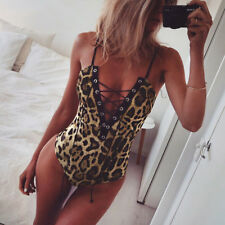 Women's Sexy Leopard Print Bodysuit Top Jumpsuit Romper Party Club Wear
