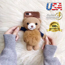 Stylish Cute 3D soft Teddy Bear Doll Toy Plush Case Cover For iPhone X 8 7 Plus