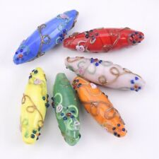 43x15mm Handcraft Flowers Oval Rugby Lampwork Glass Charm Loose Spacer Beads New