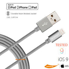 Nylon Braided Apple MFi Certified Lightning to USB cable Charging cable 3.3FT 1M