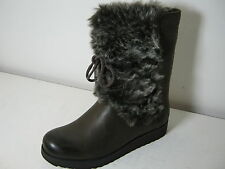 Ladies Clarks Minx Jeanie Dark Brown Leather & Faux Fur Cuff Mid Calf Boots