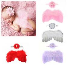 4Styles Fashion Newborn Baby Feather Flower Headband&Angel Wings Photo Prop Set