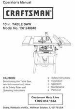 Sears Craftsman Table Saw Owners Manual 137.218010 And Many Other Models Av.