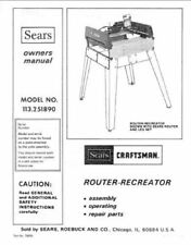 Sears Craftsman Router Owners Manual 113.251890 And Many Other Models Available