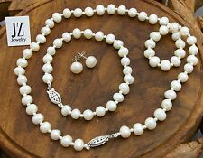 Freshwater Pearl Bridal Bracelet,Necklace Set Silver Beads & S/Silver Clasp.
