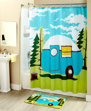 Retro Camping Trailer Bathroom Shower Curtain Towels Rug Toothbrush Soap Holder