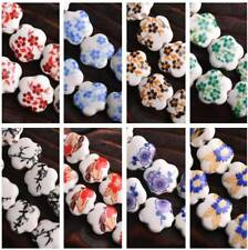 10pcs Flower Ceramic Porcelain Charm Loose Spacer Beads Jewelry Finding 15*6mm