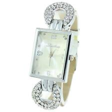 Women Synthetic Leather Band Rhinestone Square Watch Analog Quartz Wrist E456