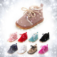 Baby Girl Boy Artificial Leather Snow Boots Soft Crib Lace-up Winter Shoes 0-18M