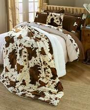 Faux Brown & White Cowhide Print Sherpa Comforter Curtain Sheets F/Queen or King