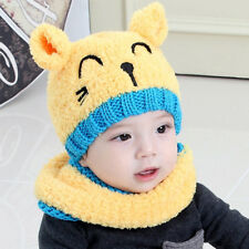 Baby Infant Cute Bear Warm Crochet Knit Hat Beanie Cap+Scarf Winter