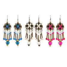 Ethnic Folk Style Hollow Out Long Tassel Beads Dangle Stud Earrings Jewelry