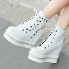 Fashion Sneakers Womens Lace Up Platform Hidden Wedges Heels Shoes Ankle Boots