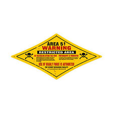 Area 51 Restricted Warning Skull Crossbones UFO Roswell Tin Metal Sign 24x12