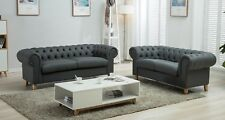 Chesterfield Sofa 2 3 Seater Suite Silver Grey Crushed Velvet Fabric Leather Leg