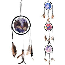 Handmade Dream Catcher With Feathers Wall Hanging Decor Ornament-Wolf
