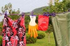 Outdoor Travel Camping Portable Drying Clothes Lines Hanging Rope With 12Clips