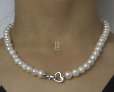 Freshwater Pearl Bridal 8 mm -10 mm  Necklace with Sterling Silver Heart Clasp