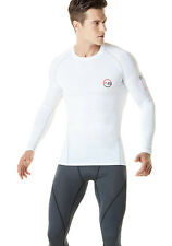 Activ8 Mens Thick Compression Long sleeve Shirt Baselayer Quick Dry Sports White