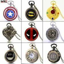 Antique Steampunk Pocket Watch Quartz Fob Watch Vintage Pendant Necklace Chain