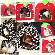 Soft Strawberry Pet Dog Cat Bed House Kennel Doggy Warm Cushion Basket S-2XL
