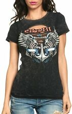 AFFLICTION Sinful Women's Penny baby T-shirt black charcoal lava S3242
