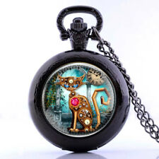 Steampunk Gear Robot Cat Antique Pocket Watch Necklace Quartz Fob Watch Pendant