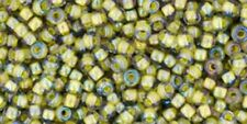 TOHO 11/0 Seed Beads, #246,Inside-Color Luster Black Diamond/Opaque Yellow-Lined