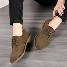 British Womens Faux Suede Lace Up Flats Block Heels Round Toe Style Shoes Pumps