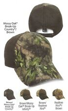 UNSTRUCTURED Brown Weathered Cotton w/ Realtree or Mossy Oak Camo Hunting  Hat