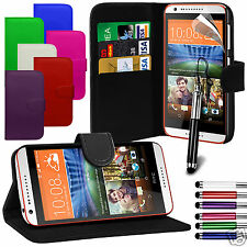 PU Leather Wallet Flip Case Cover & LCD Film & Stylus Pen For HTC Desire 620