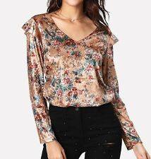 Ruffle V Neck Long Sleeve Floral Velvet Multicolor Top Blouse Casual
