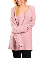 ZKESS Womens Loose V Neck Long Sleeves Hollow Knits Baggy Sweater Pullover Tops