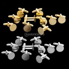 10pcs Mens Cufflinks Cuff Link Base Blanks Findings Jewelry 15mm Gold/Silver