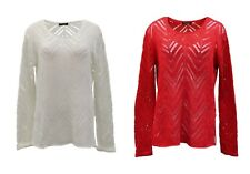 NWT FYLO Red Ivory Open Knit Tunic Sweater Top Sz S-M-L 220892RM
