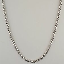 .925 STERLING SILVER RHODIUM PLATED 3.7mm SOLID HEAVY ROUND BOX CHAIN NECKLACE