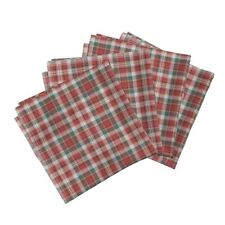 Red Plaid Cotton Dinner Napkins by Roostery Set of 4