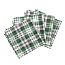White Plaid Cotton Dinner Napkins by Roostery Set of 4