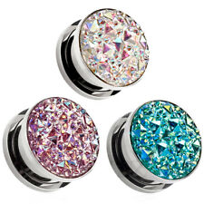 Pair of Sparkling Gem Screw Stainless Steel Ear Plugs Gauges Tunnels Earrings
