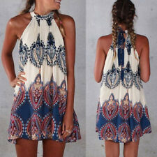 New Women Summer Sleeveless Casual Beach Evening Party Cocktail Short Mini Dress