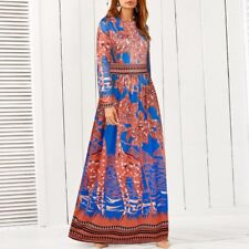 Women Long Sleeve Round Neck Bohemia Floral Printed Casual Loose Long Dress
