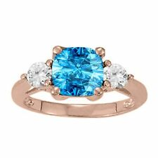 2.15 Ct. Ttw Diamond And Cushion Cut Blue Topaz Ring In 14K Gold