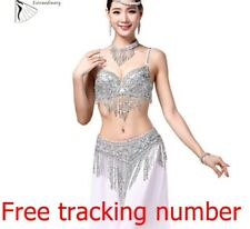 BELLY DANCE CLOTHES BEADED TOP AND BELT BRA WITH NECKLACE  COSTUME